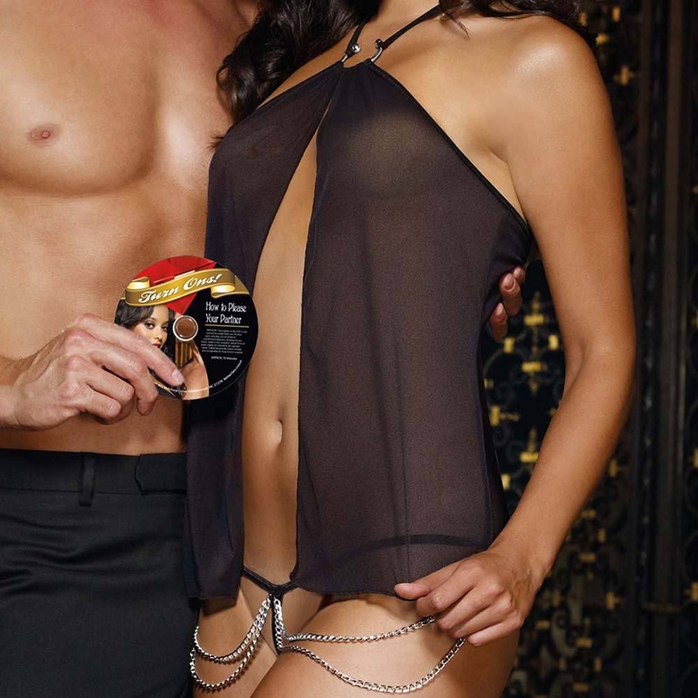 Turn Me On Flyaway Babydoll with G-String and DVD Black - View #2