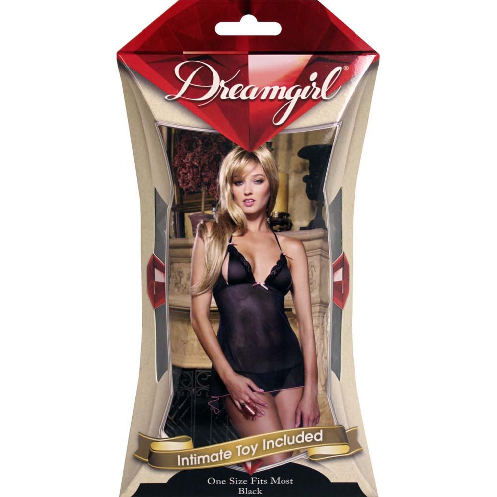 Make Me Flutter Babydoll and Thong with Adult Toy Black - View #4