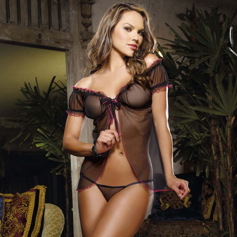 Secret Liasons Flyaway Babydoll and Thong One Size Black - View #1