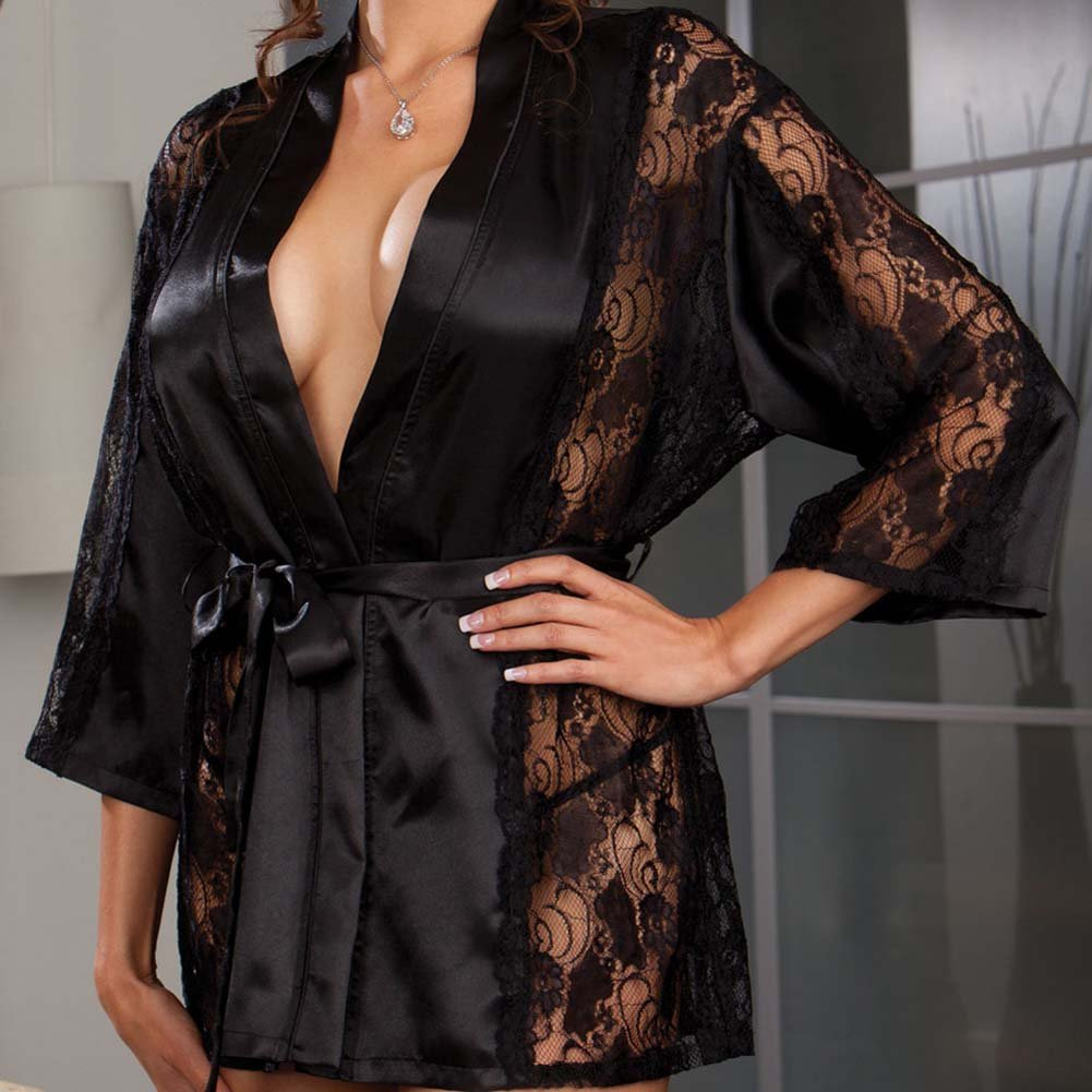 Dreamgirl Robe and Thong with Padded Hanger. Plus Size 1X/2X Black - View #2