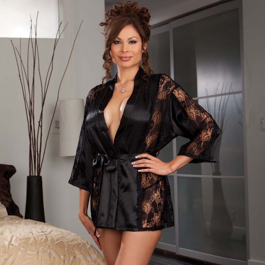 Dreamgirl Robe and Thong with Padded Hanger Plus Size 3X/4X Black - View #1