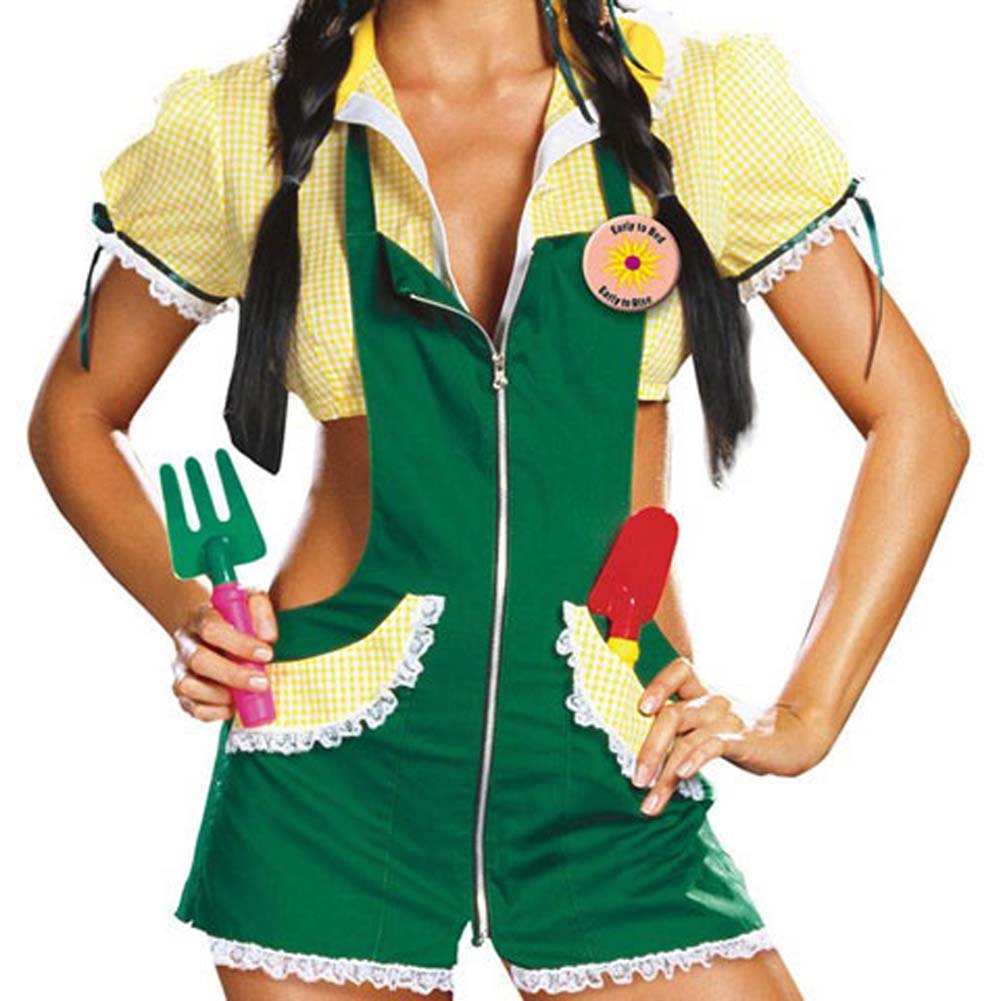 Garden Ho Farm Girl Sexy Halloween Costume Large Green - View #3