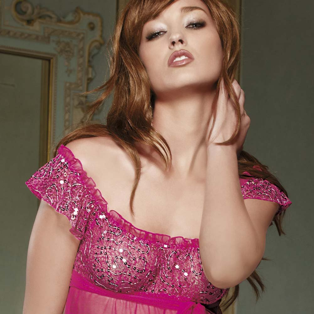 Sweet and Sparkled Sequined Top Babydoll Set Small - View #2