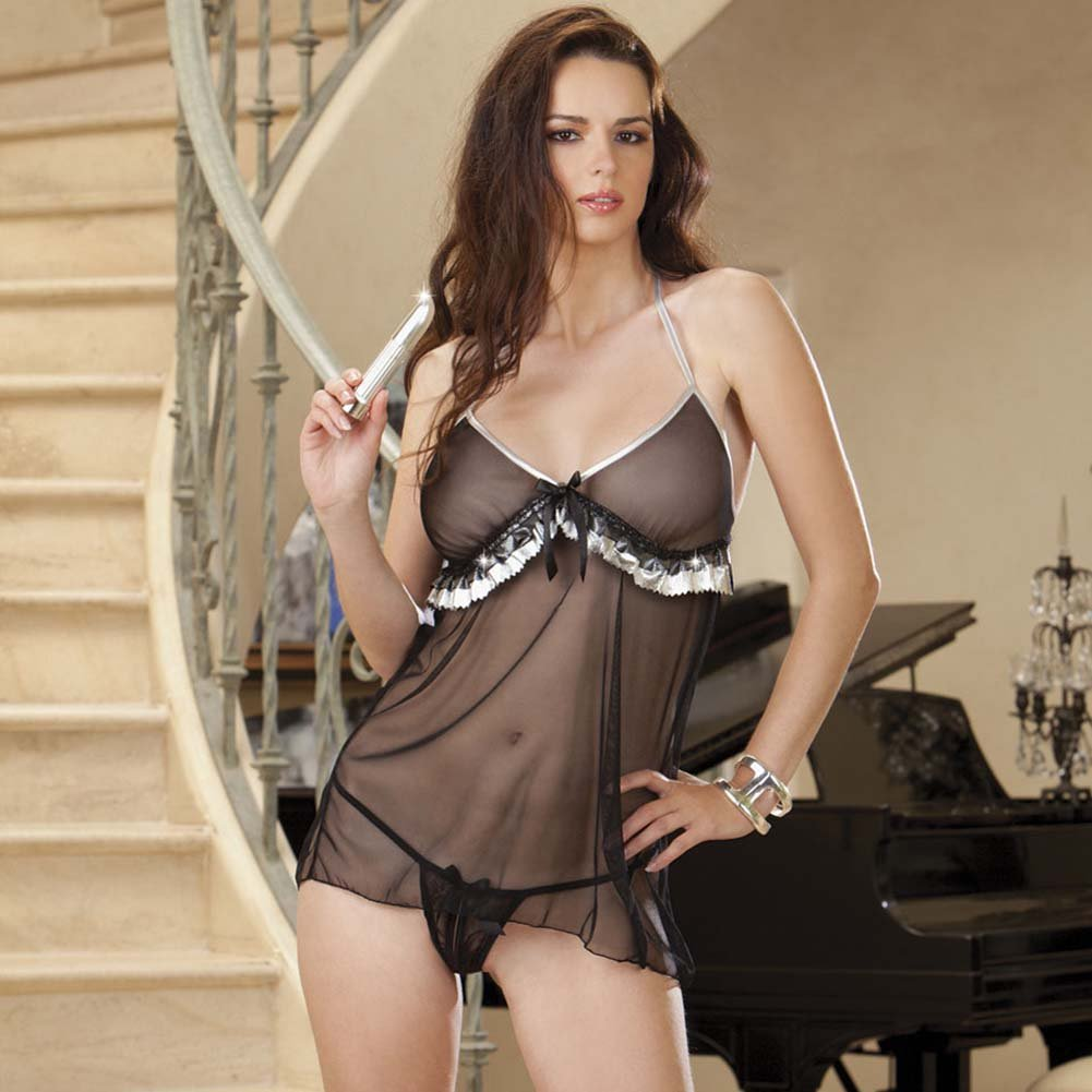Pretty in Platinum Babydoll Set with Vibe One Size Silver and Black - View #1