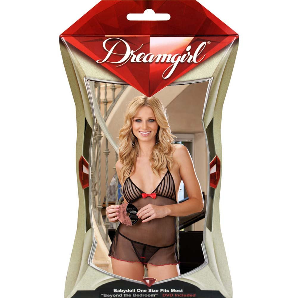 Dreamgirl Lingerie Incredible Pleasure Babydoll Set with DVD One Size Black - View #4