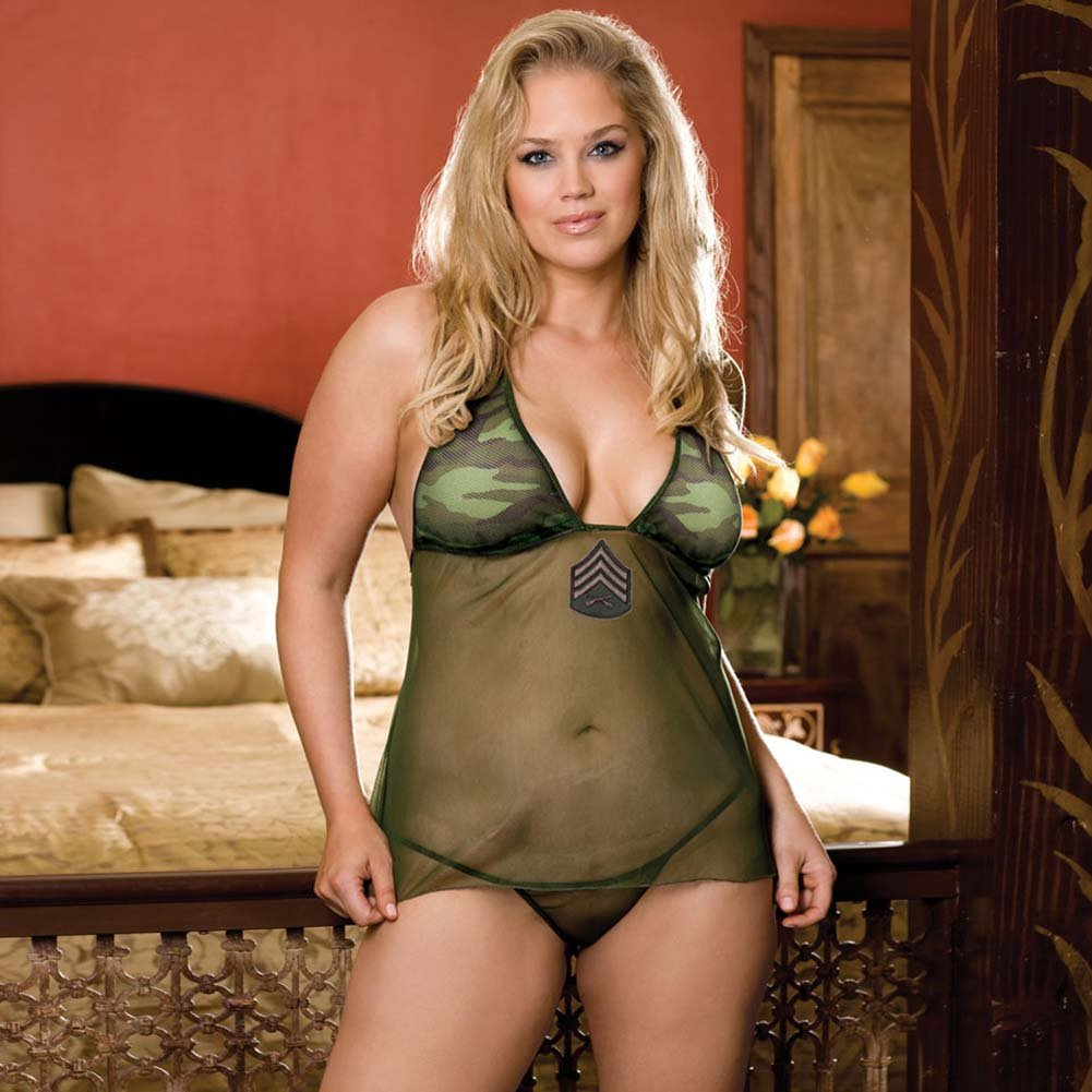 For Our Boys Babydoll Lingerie Costume Set Plus Size Camo Green - View #1