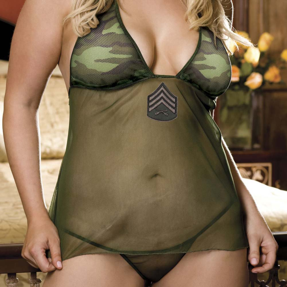 For Our Boys Babydoll Lingerie Costume Set Plus Size Camo Green - View #3
