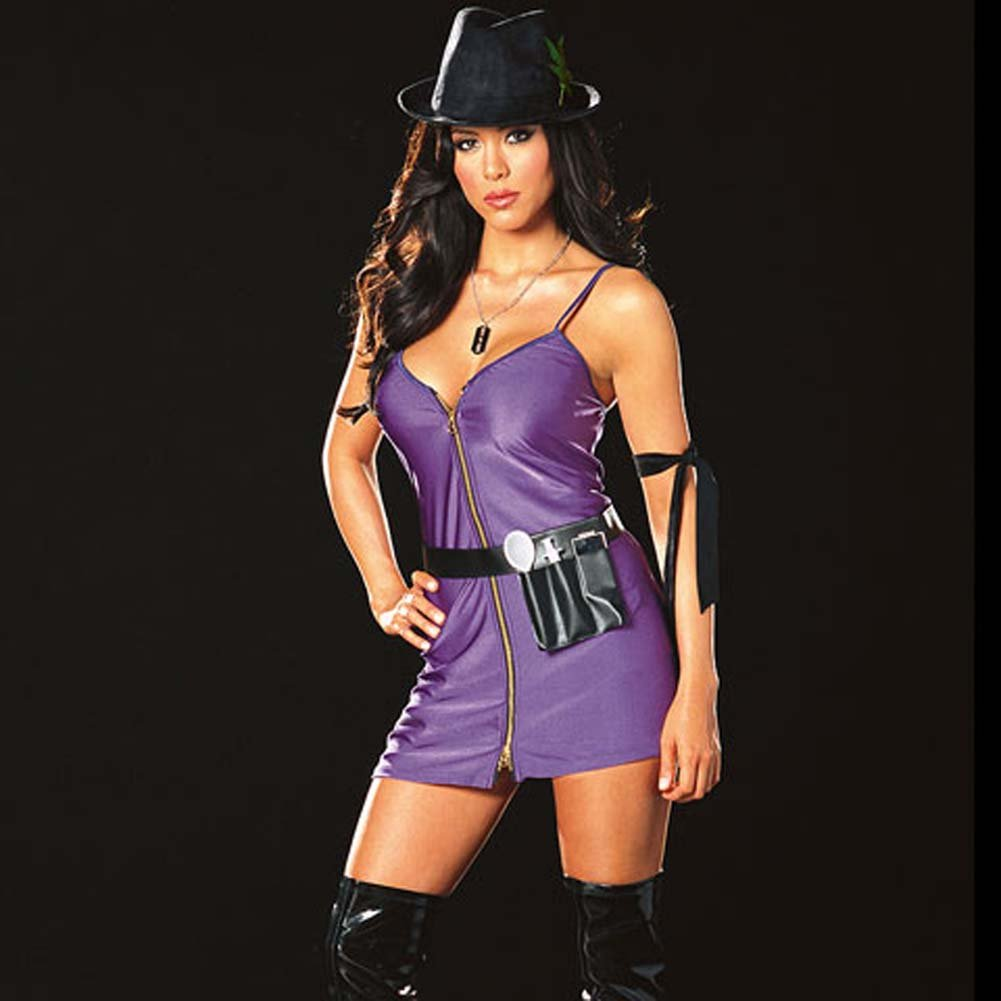 Diva Dealer Costume Small Purple and Black - View #2