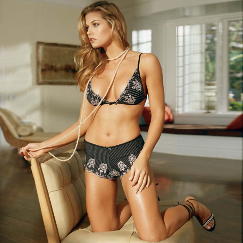 Fine Embroidered Bra Top and Shorts Set Large Black - View #2