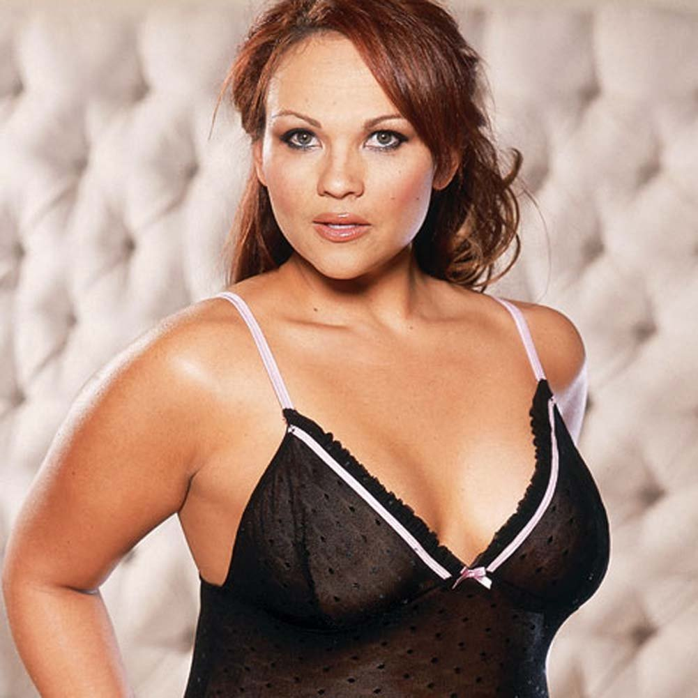 Slim Down Babydoll with Thong Black Plus Size - View #1