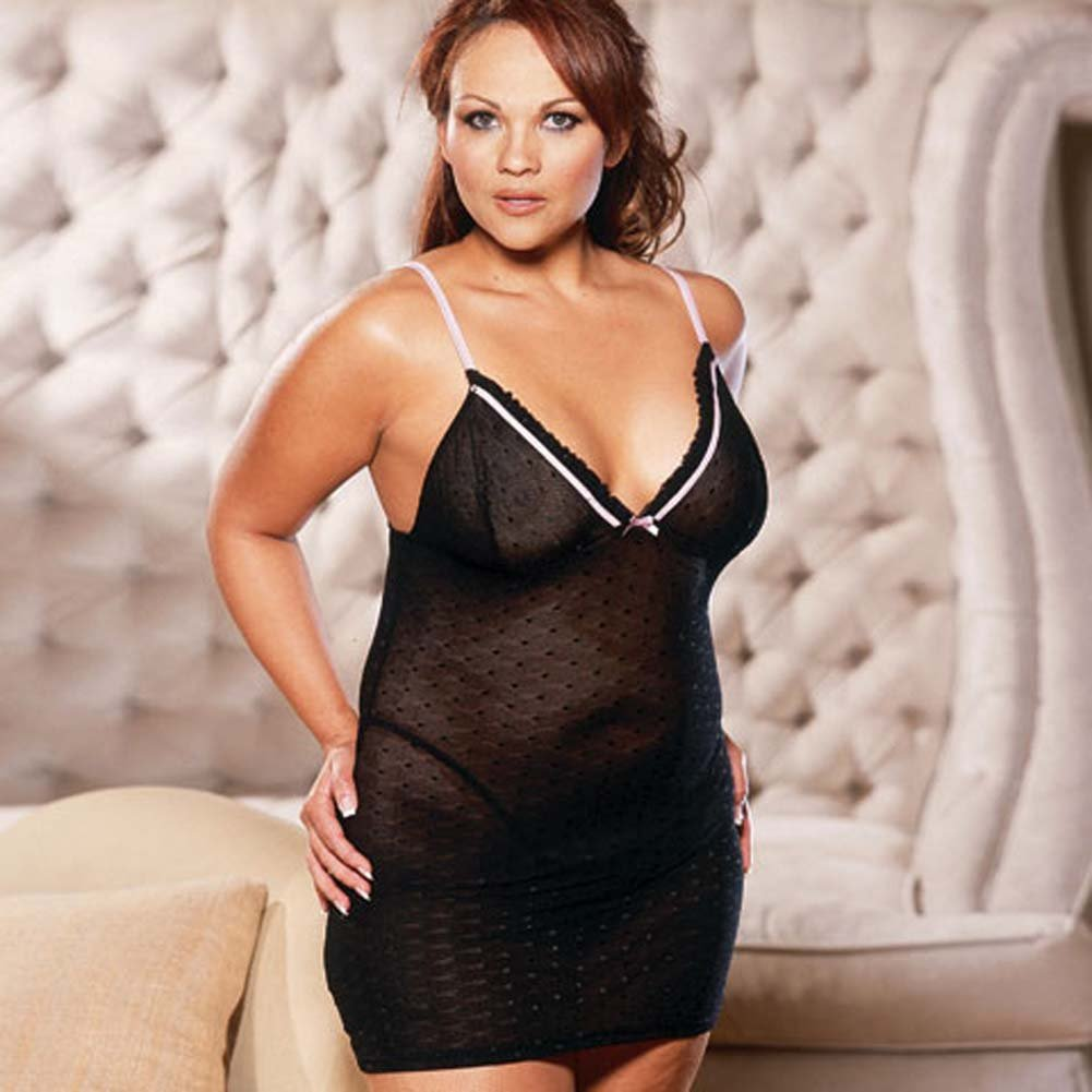 Slim Down Babydoll with Thong Black Plus Size - View #3