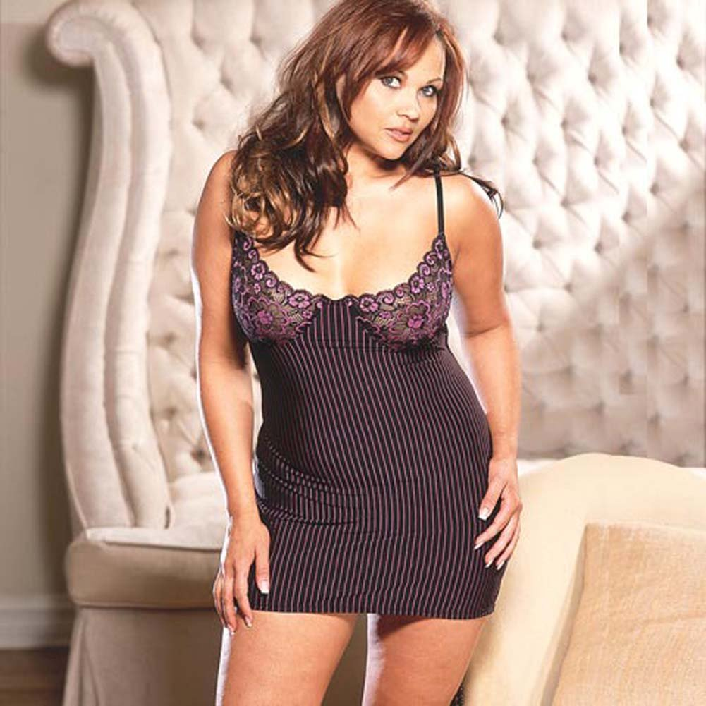 Stripe Microfiber Babydoll with Thong Style 3649X Plus Size - View #2