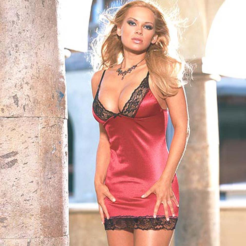 Stretch Satin Babydoll with Thong Style 3726 Red Small - View #2
