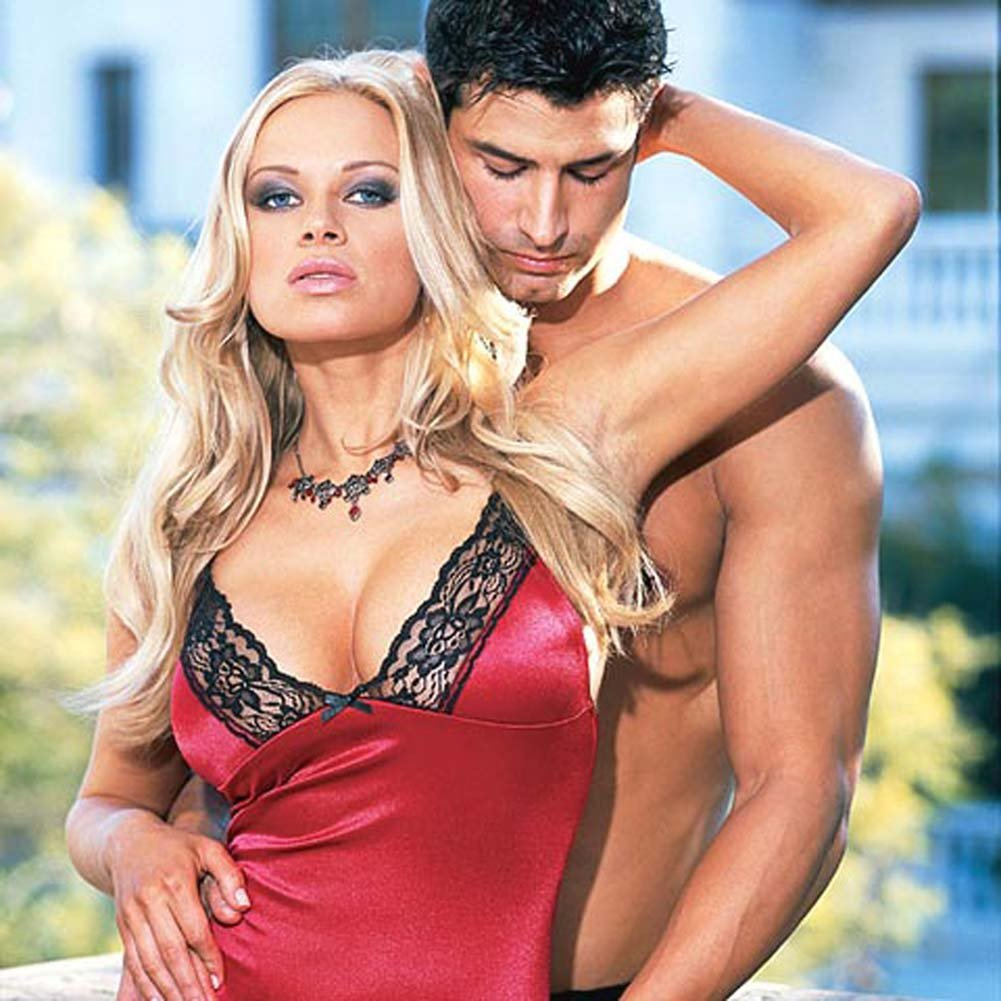 Stretch Satin Babydoll with Thong Style 3726 Red Large - View #3