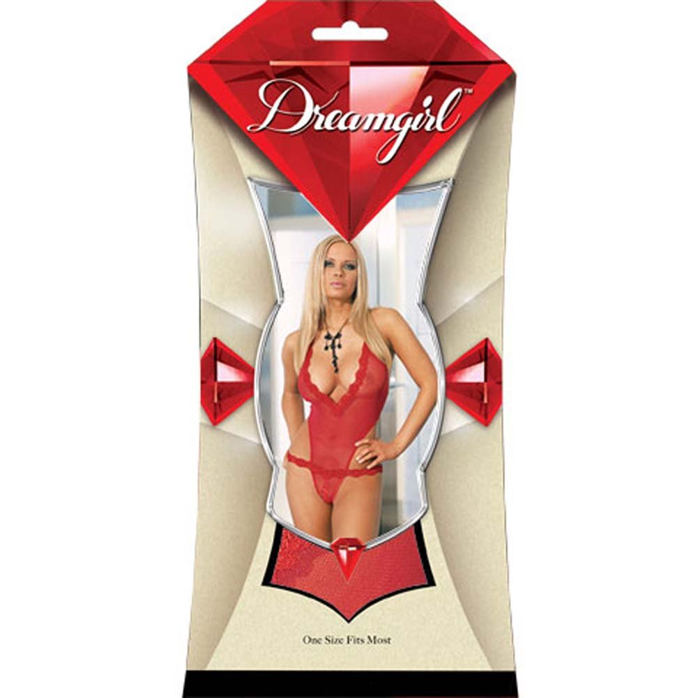 Super Slim Fishnet Open Crotch Teddy Red - View #1