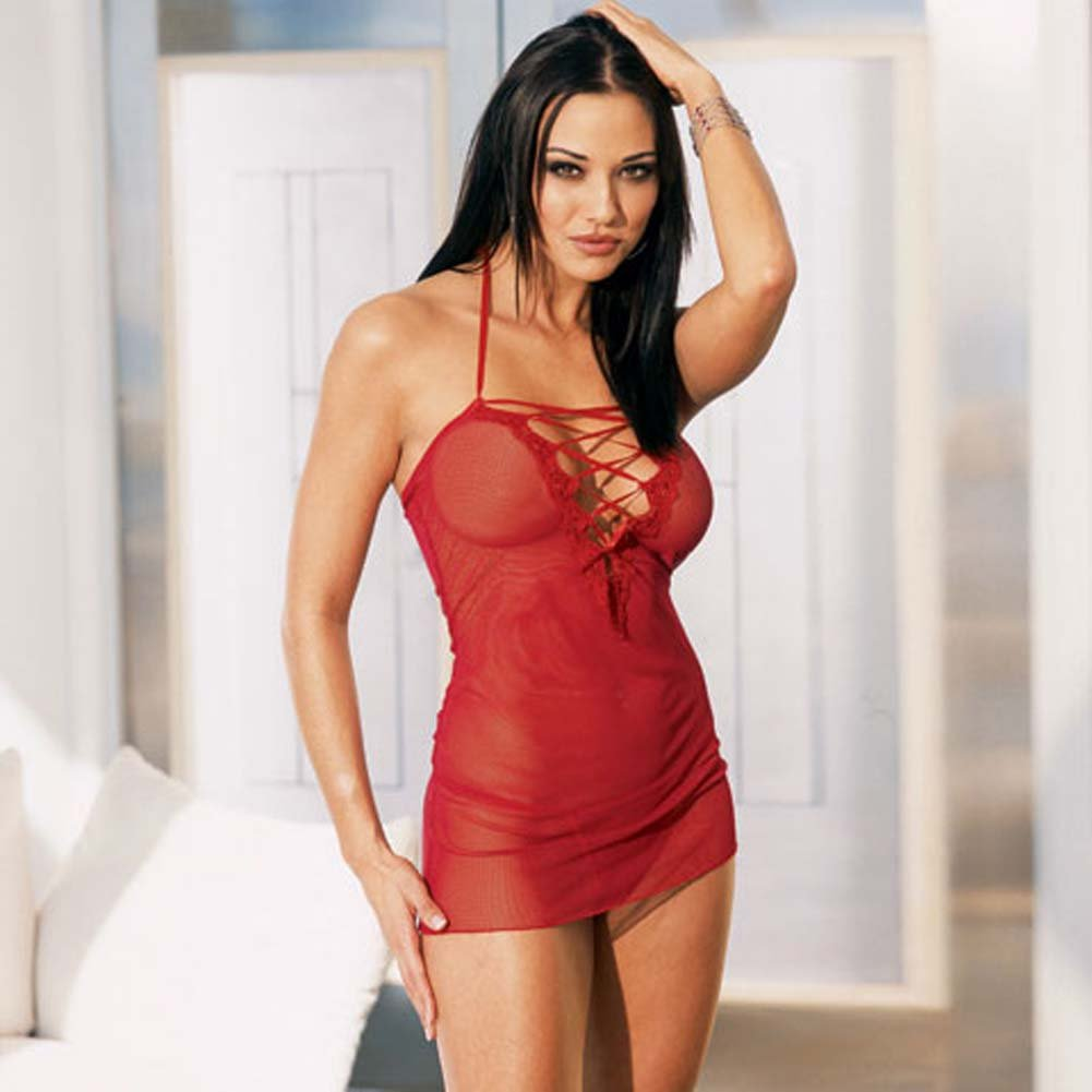 Lace Up Front Mini Dress with Thong Red - View #2
