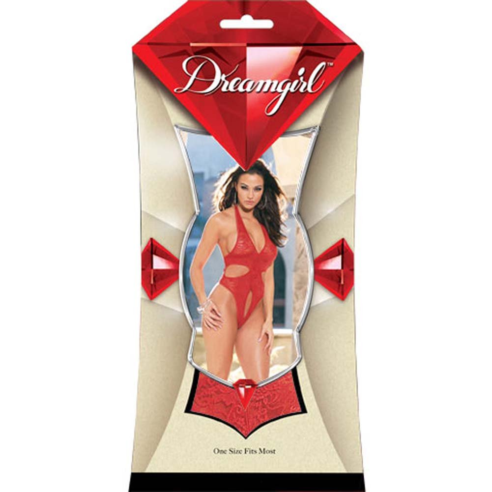 Thong Back Teddy with Snap Croth Style 3731 Red - View #1