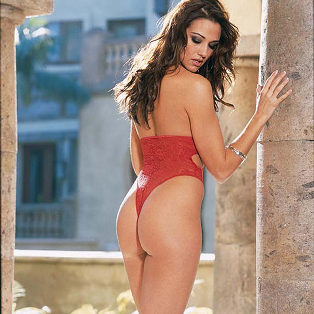 Thong Back Teddy with Snap Croth Style 3731 Red - View #3