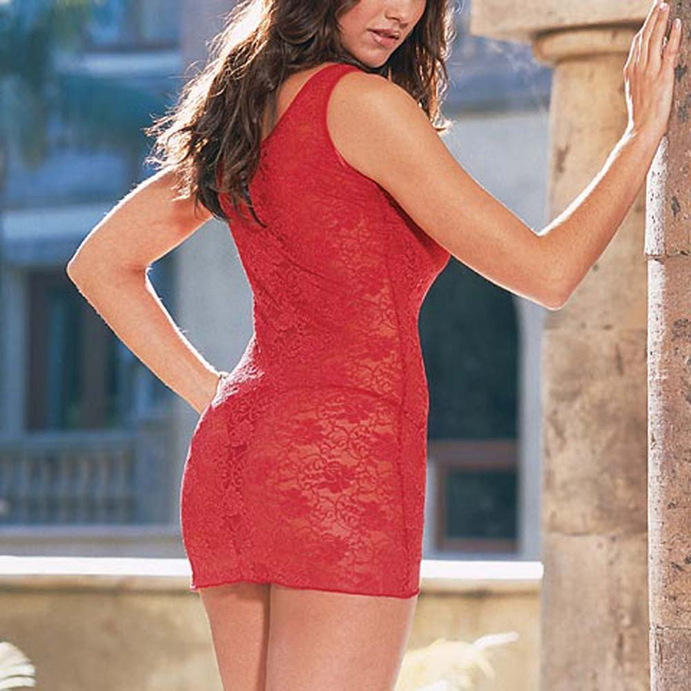Stretch Lace Dress with Thong Style 3692Red - View #3