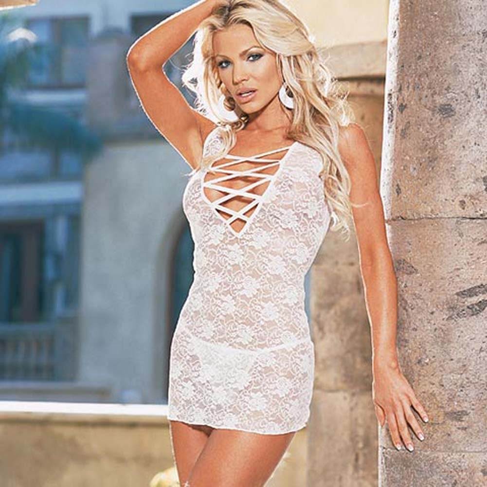 Stretch Lace Dress with Thong Style 3692 White - View #2