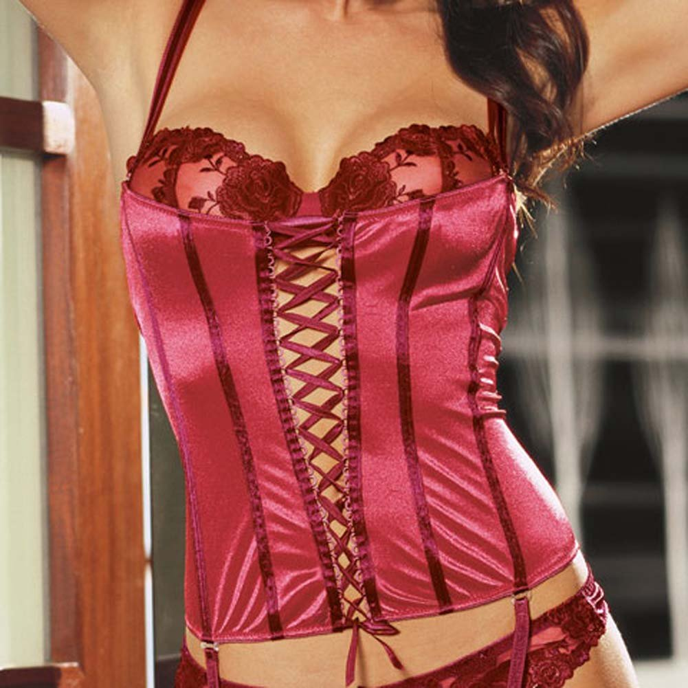 Satin Corset with Attached Rose Broidery Bra Red Size 34 - View #3