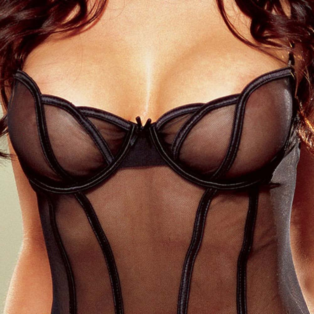 Sheer Mesh Babydoll and Thong Black Small - View #4