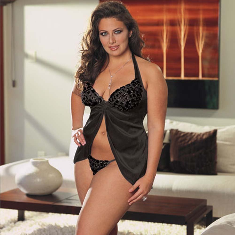 Faux Jewel Babydoll and Thong Set Plus Size 1X/2X Black - View #2