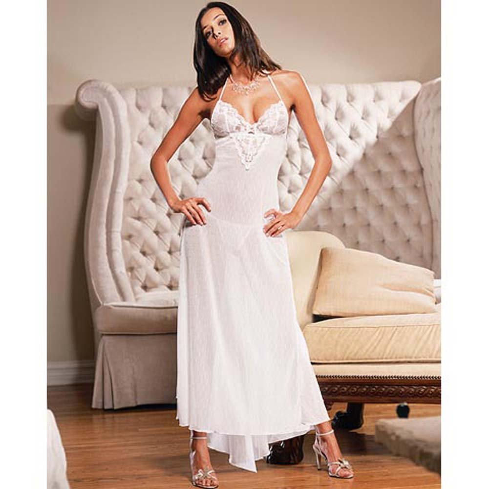 Swiss Dot Net Soft Cup Long Gown Style 3647 Large White - View #2