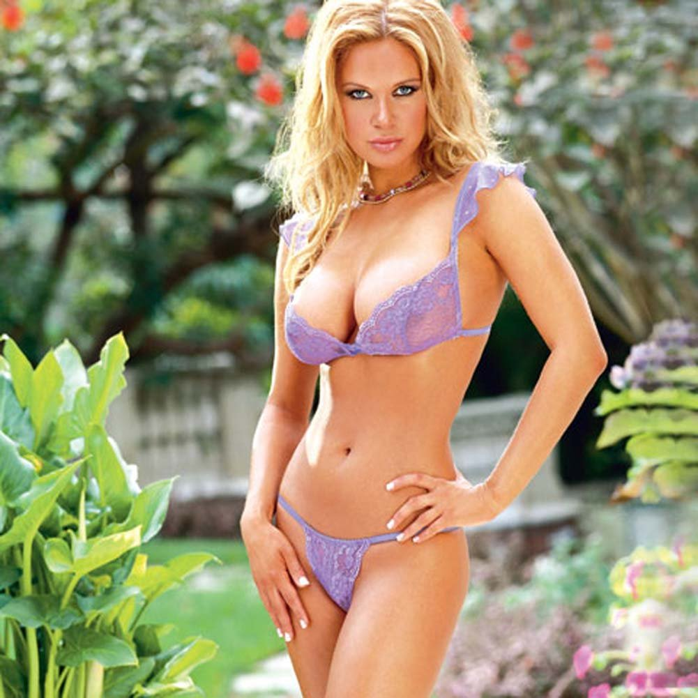 Stretch Lace Bra with Matching Thong Style 3648 Lilac Medium - View #2