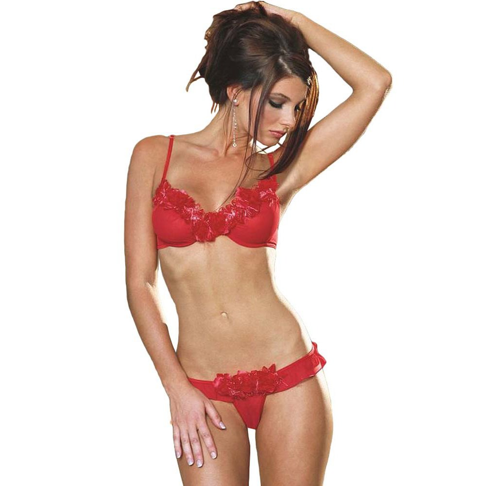 Dreamgirl Rose Trimmed Underwire Bra and Ruffled Thong Medium Red - View #1