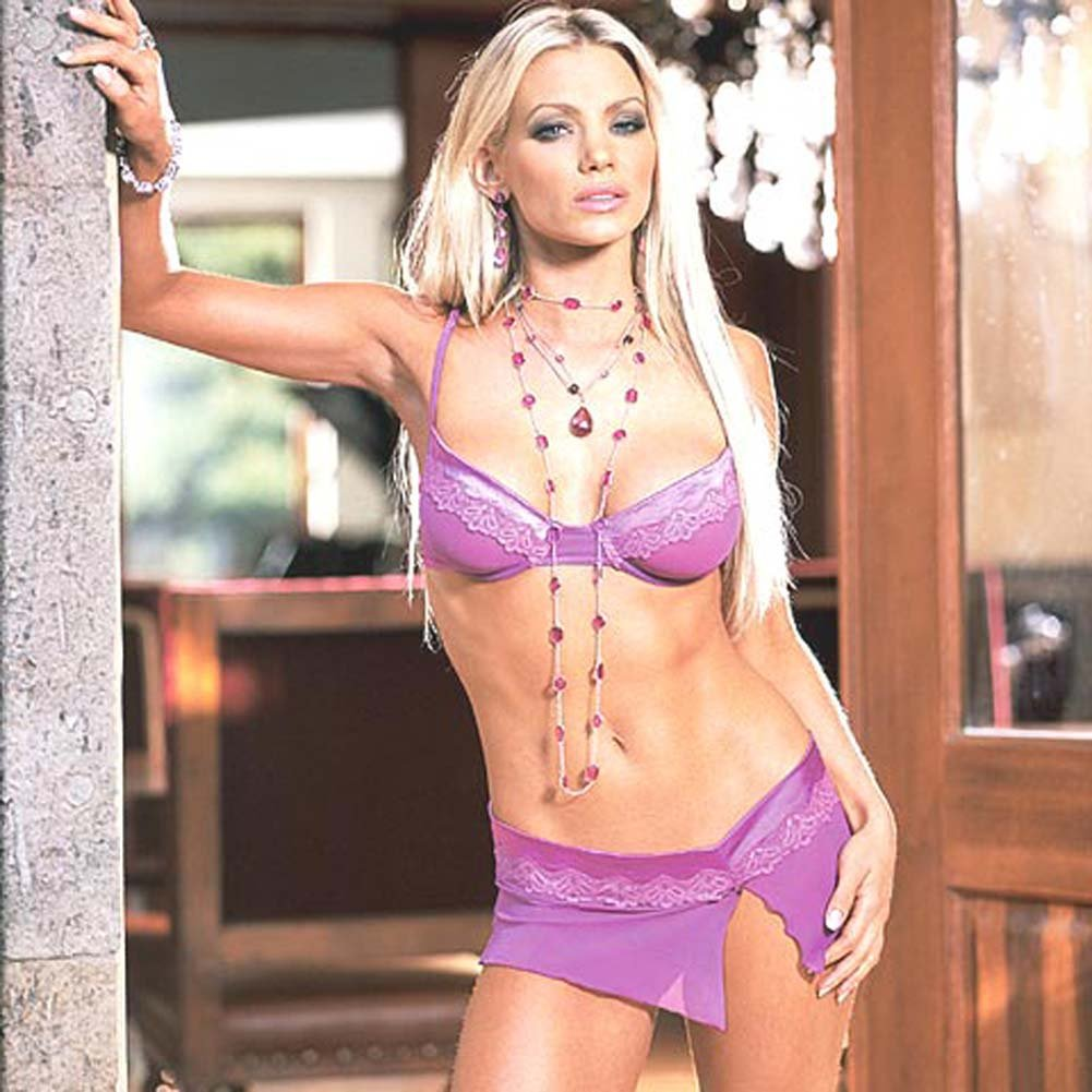 Stretch Satin Bra and Skirt with Thong Purple Large - View #2