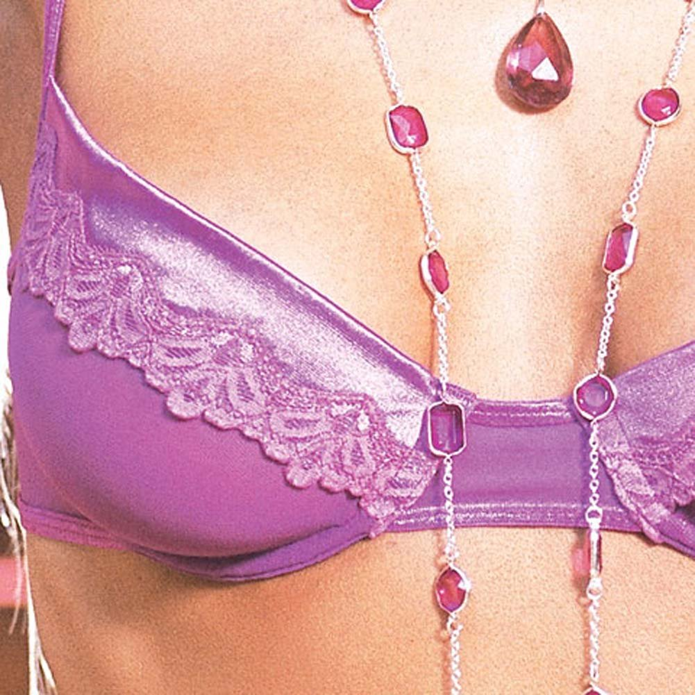 Stretch Satin Bra and Skirt with Thong Purple Large - View #4