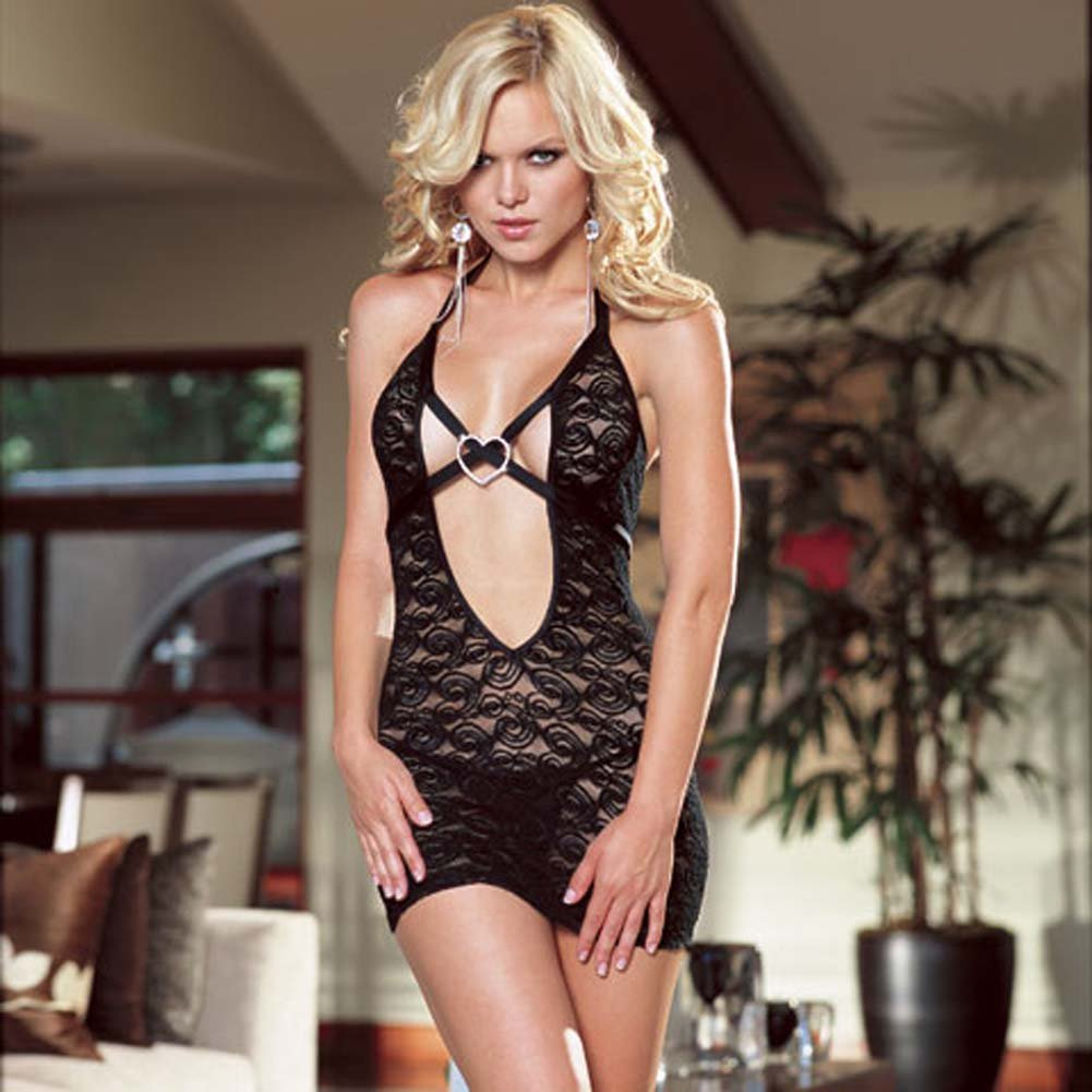 Chemise with Rhinestone Heart and Thong Black Medium - View #1