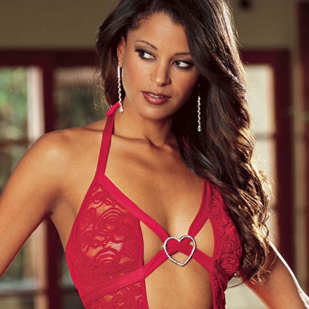 Babydoll with Rhinestone Heart and Thong Red Medium - View #2