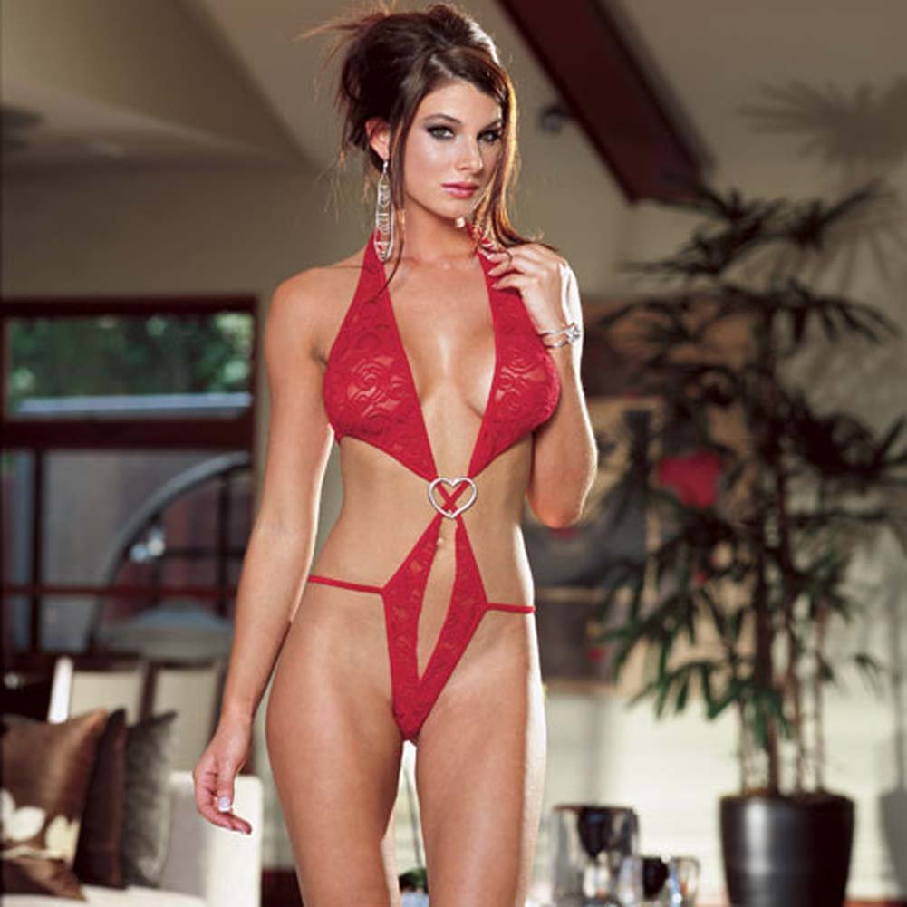 Stretch Lace Open Crotch Halter Teddie Red Medium - View #1