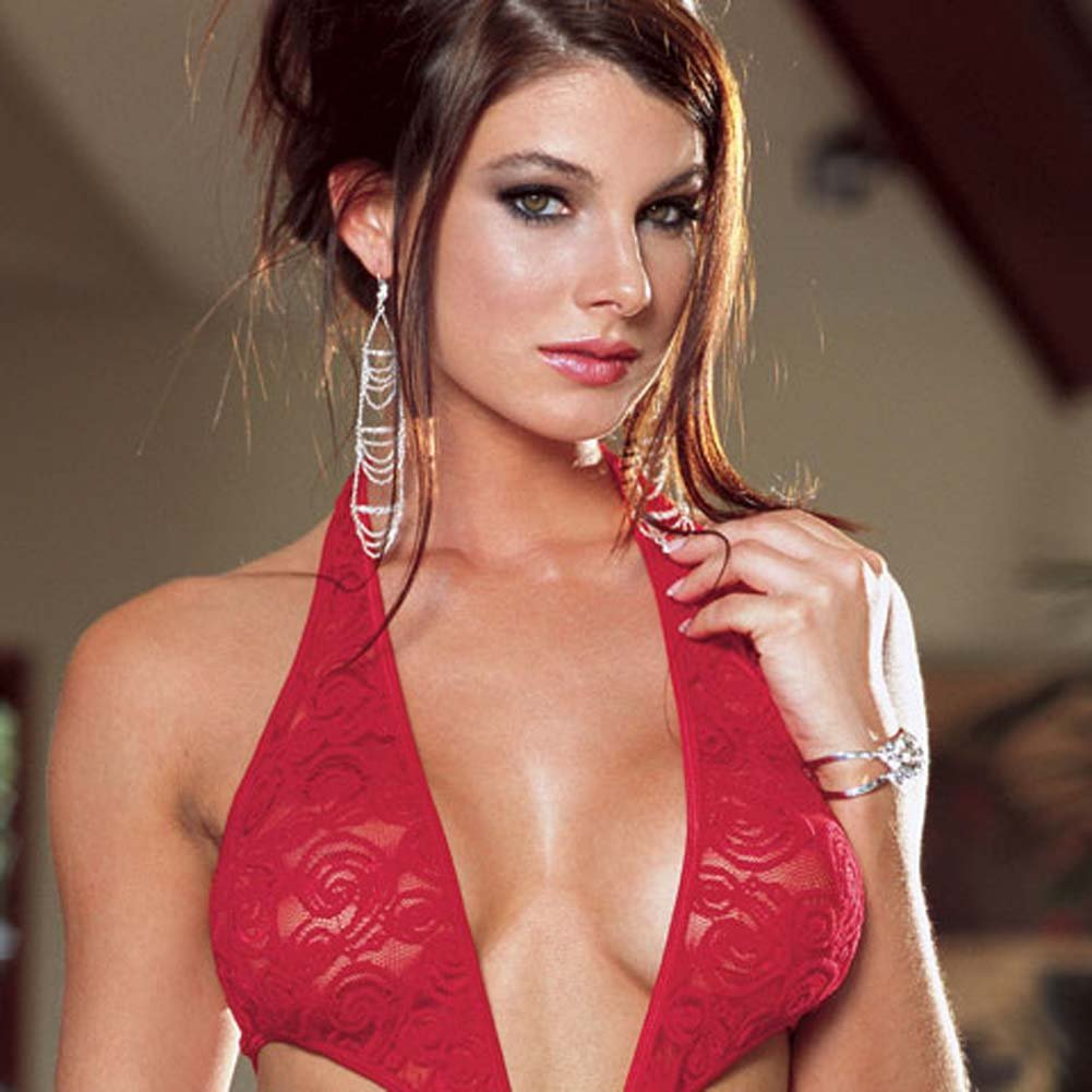 Stretch Lace Open Crotch Halter Teddie Red Medium - View #3