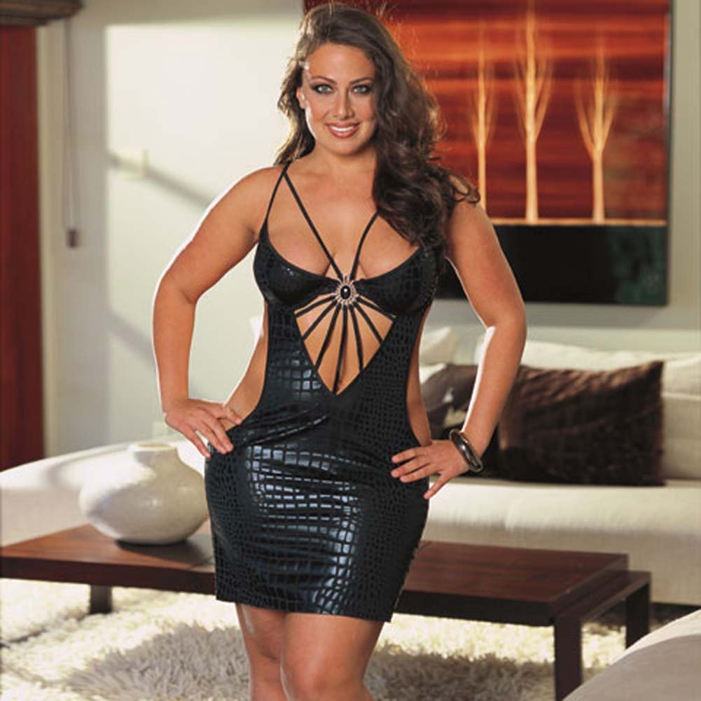 Cobra Print Dress with Thong Black Plus Size 3X/4X - View #1
