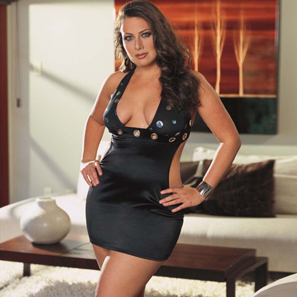 Mirror Dot Microfiber Dress with Thong Black Plus Size 1X/2X - View #1