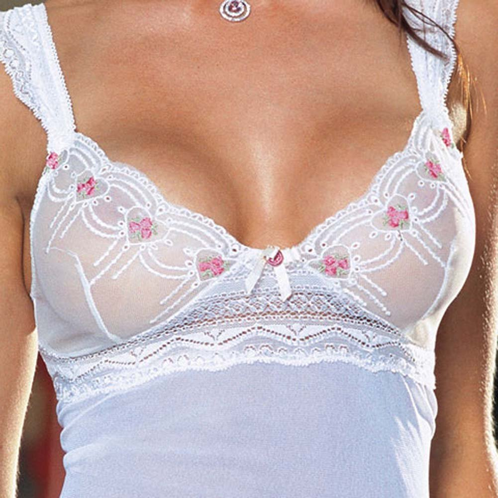 Embroidered Mesh Babydoll with Thong Ivory/Pink Large - View #4