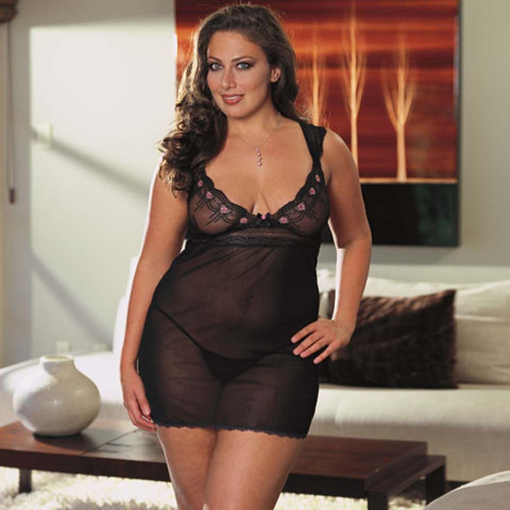 Embroidered Mesh Babydoll Black/Pink Plus Size 1X2X - View #1
