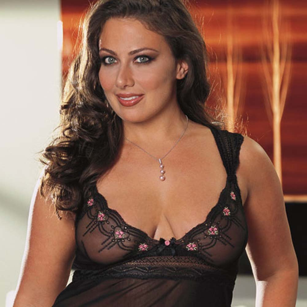 Embroidered Mesh Babydoll Black Plus Size 3X/4X - View #2