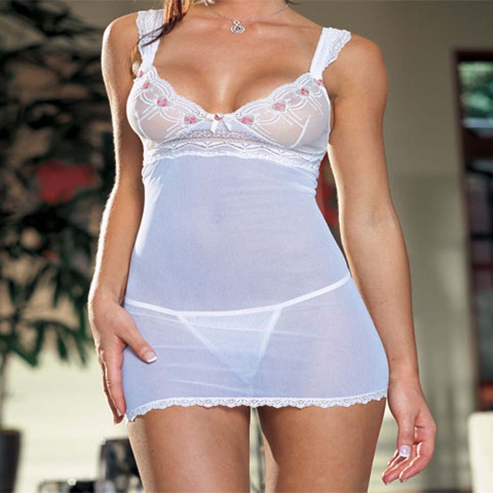 Embroidered Mesh Babydoll Ivory Plus Size 1X/2X - View #1