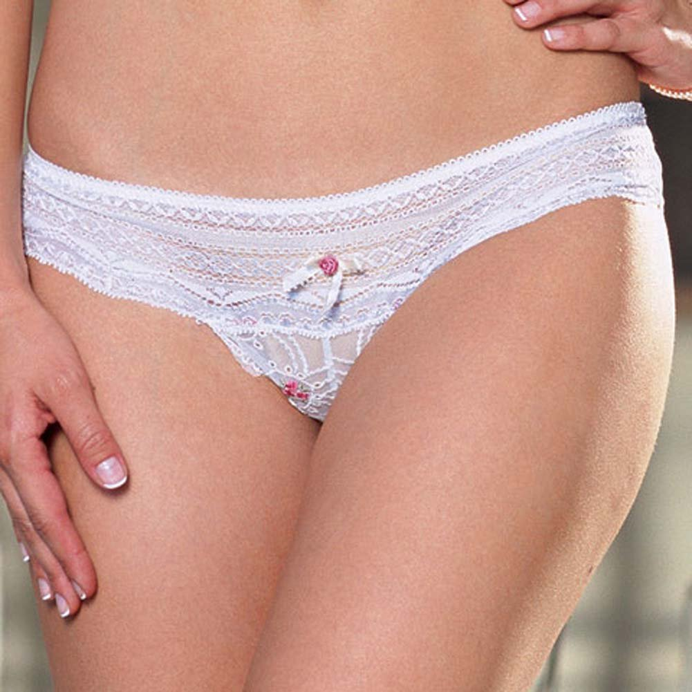 Dreamgirl Lace Bra Top and Matching Thong Set Medium White - View #4
