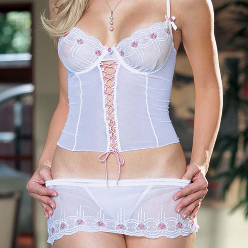 Underwire Camisole with Skirt and Thong White Large - View #3