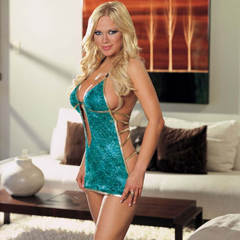 Babydoll with Gold Satin Trim and Thong Turquoise Large - View #1