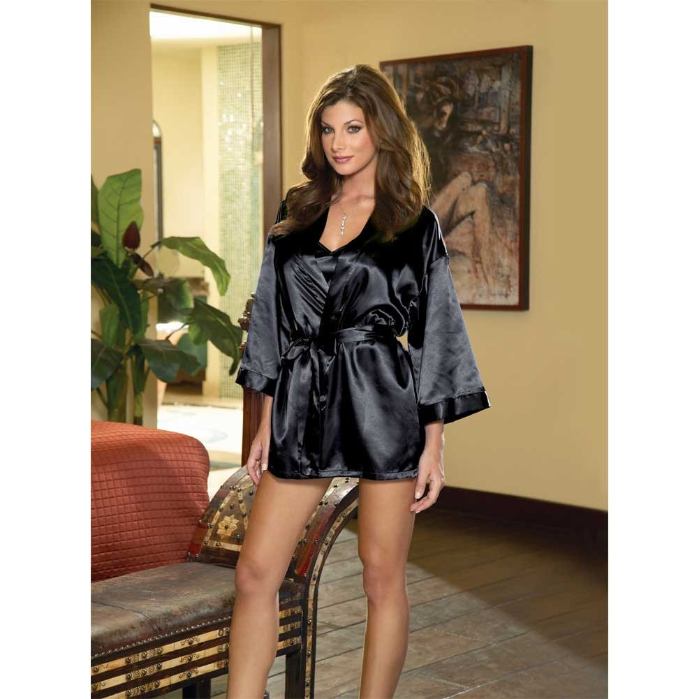 Dreamgirl Babydoll and Matching Robe with Padded Hanger Medium Classic Black - View #4
