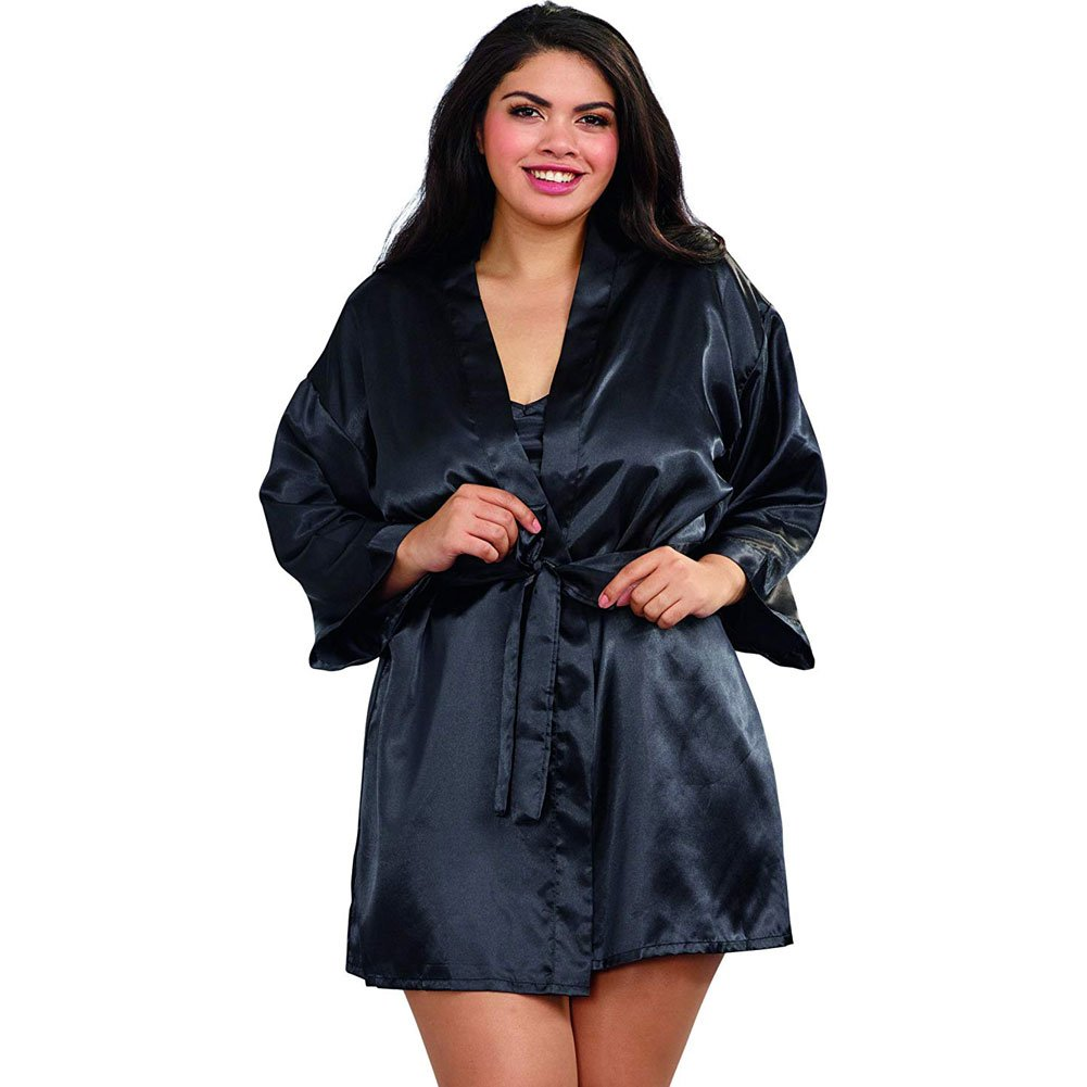 Dreamgirl Babydoll and Robe with Padded Hanger Plus Size 1X/2X Black - View #1