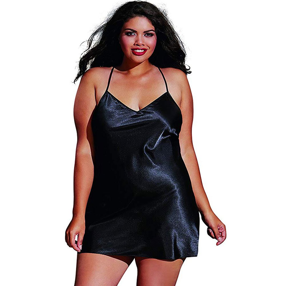Dreamgirl Babydoll and Robe with Padded Hanger Plus Size 1X/2X Black - View #3