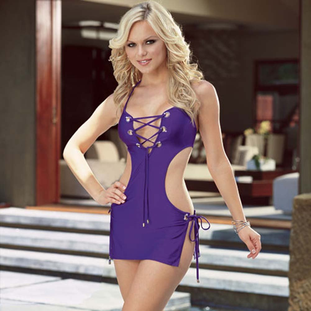 Halter Dress with Rhinestone Eyelets Purple Large - View #1