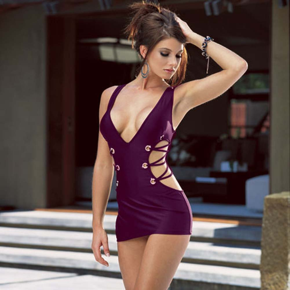 Microfiber Tank Dress with Thong Purple Small - View #1